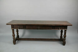 Antique Spanish Revival Tudor Oak Console Table Opens To Dining Table 13284