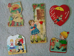 Lot Of 5 Vintage Used Valentineand039s Day Cards W/movable Parts Printed In Germany