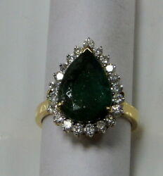 Vintage 18 K Gold Emerald And Diamond Ring
