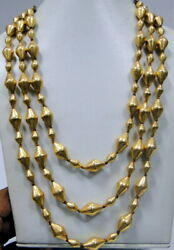 Ethnic Vintage Antique Tribal 22k Gold Beads Three Row Necklace