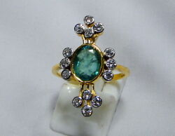 Vintage Art Deco 18 K Solid Gold Natural Emerald Diamond Ring Jewelry