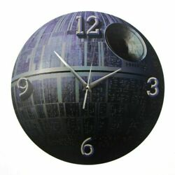 Death Star Wall Clock Round 3d Effect Printed Non-ticking Planet Watch Space