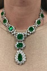Solid Green Cushion And Pear Drop Handmade 925 Sterling Silver Necklace