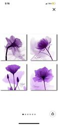 Printed Flower Painting On Canvas - 4 Piece Printed 12 X 12 Each Purple Flowers