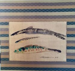 20th Century Japanese Ink Watercolor Stroked Rainbow Trout Family S. Kayama かやま