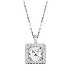 Moissanite By Charles And Colvard 8mm Square Pendant Necklace, 3.52cttw Dew
