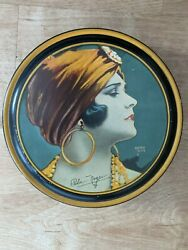 Rare Vintage Canco Tin Beautebox Image Of Pola Negri By Henry Clive 1920s