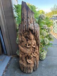 Hand Carved Wood Thailand Goddess Buddhism Beautiful 3 D Tall Heavy Rare