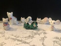 6 Fenton Hand Painted Cats/mouse Collection Satin Iridescent Green Glass-read