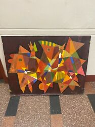 Large Martin Rosenthal Visionary Painting Abstract Mid Century