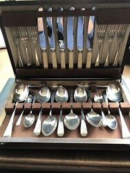 Antique Chris Johnson And Co. Stamped Silver-plated Cutlery Set/oak Canteen M