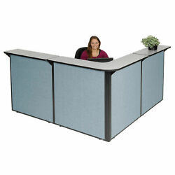 80w X 80d X 44h L-shaped Reception Station Gray Counter/blue Panel