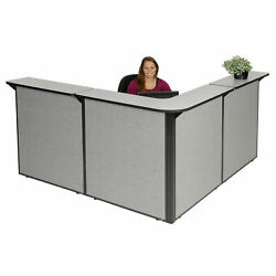 80w X 80d X 44h L-shaped Reception Station Gray Counter/gray Panel
