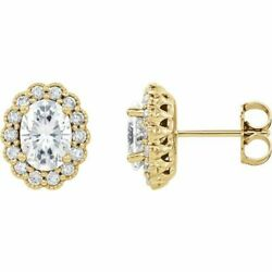 Ovale Forever Un Moissanite And 3/8 Cts Diamant Earrings In 14k Or Jaune