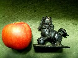 Rare Antique Chinese Solid Bronze Lion Dog Of Foo Seal Scroll Weight 6 Character