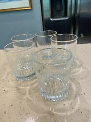 Crown Royal Etched Side With Embossed Cr Base Set Of 5 Of Whiskey Rocks Glasses