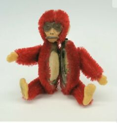 """Vintage Miniature Shuco Jointed 3 1/2"""" Red Monkey Compact Rare Color Amazing Nm+"""