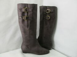 Seychelles Brown Leather Knee High Wedge Fashion Boots Womens Size 7