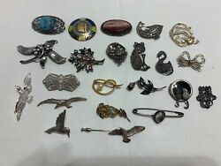 Sterling Silver - Lot Of 22 Assorted Antique Solid Brooch Pins Not Scrap - 158g