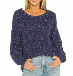 New Free People Neon Lights Pullover Sweater Blue Size Medium M