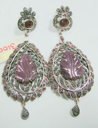 Vintage Victorian Natural Ruby And Diamond Set Dangles 14k Gold Silver Earrings