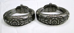 Ethnic Tribal Old Silver Bangle Bracelet Anklet Pair Fine Antique Jewelry