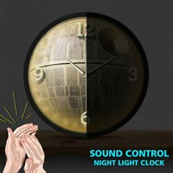Sound Control Night Light Wall Clock Death Star Pattern Watch Space Station Home