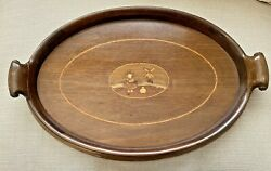 Vintage/antique Dutch Wooden Tray 50x34cm Inlaid Windmill With Mahogany Handles