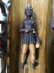 Antique Very Old Original Paint Cast Iron Native American Indian With Tomahawk