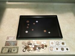 Vintage Couroc Tray Inlaid World Coin 1 Pound Coin 3 Usa Silver Certificate1957