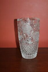 Vintage Hand-cut Lead Crystal Flower Vase Heavy Glass Etched 10 Tall