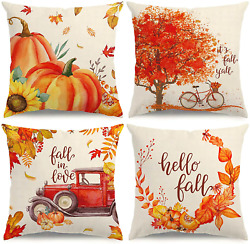 KISVODS Fall Pillow Covers 18×18 Set of 4 Fall Decorations Autumn Pillow Covers