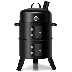 3 In 1 Portable Charcoal Smoker Vertical Bbq Grill Built-in Thermometer Black