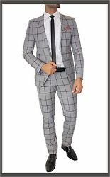 Fc Plus Suit Set Checked Fitted Dual Slot Shirt Tie Grey Checked 48
