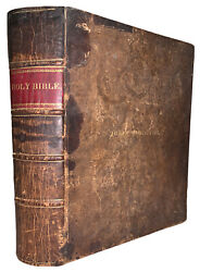 1844, The Holy Bible, Old And New Testaments, Quarto, Leather, Niver Family
