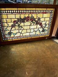 Sg3758 Awesome Antique And Jeweled Border Stained Glass Window 21.5 X 35.25