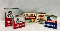Vintage Spice Tins 2 Schilling / French's / Mccormick Plus Food Colors Lot Of 5