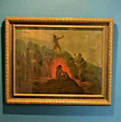 Famous Antique Prang American Indian Burning Flaming Arrow Fire Print Framed