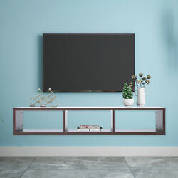 Floating Tv Shelf For Game Consoles Cds Rustic Wall Mounted Media Console 60
