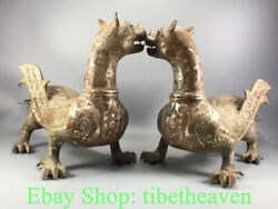 16.4 Antique Chinese Silver Bronze Ware Dynasty Fly Pixiu Beast Statue Pair