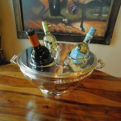 Vintage Silver Plate Wine Cooler / Bowl Made In Italy 3 Bottles