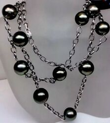 """South Sea Peacock Cultured Pearls By The Yard Necklace 36"""" Inch Solid 14k Wg"""