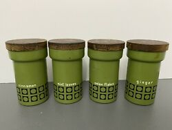4 Green Olive Spice Tins Retro Kitchen Decor Antique With Wood Lids