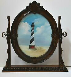 Original Oval Framed Oil Painting Cape Hatteras Light House Artist Signed And Sold