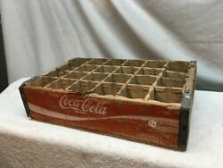 Vintage Coca Cola Coke Wood Crate Carrier Case 24 Slot Red White Lettering