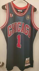 Mitchell And Ness Chicago Bulls Nba Derrick Rose Authentic Green Week Jersey 44 L