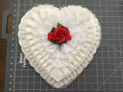 Vintage Valentine Heart White Lace Red Rose Candy Chocolate Box
