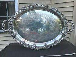 Antique Large Heavy Silver Plate Eg Webster Grape Vine Etched Tray 28 X 18