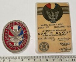Eagle Scout 1950 - 1960s Badge Card Indiana Boy Scouts Bsa Vintage Cloth Back