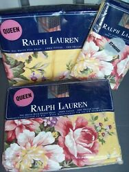 Set 4 New Brooke Floral Yellow Queen Fitted Flat Sheet 2 Pillowcase